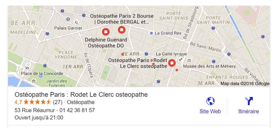 Cabinet osteopathie carte Google
