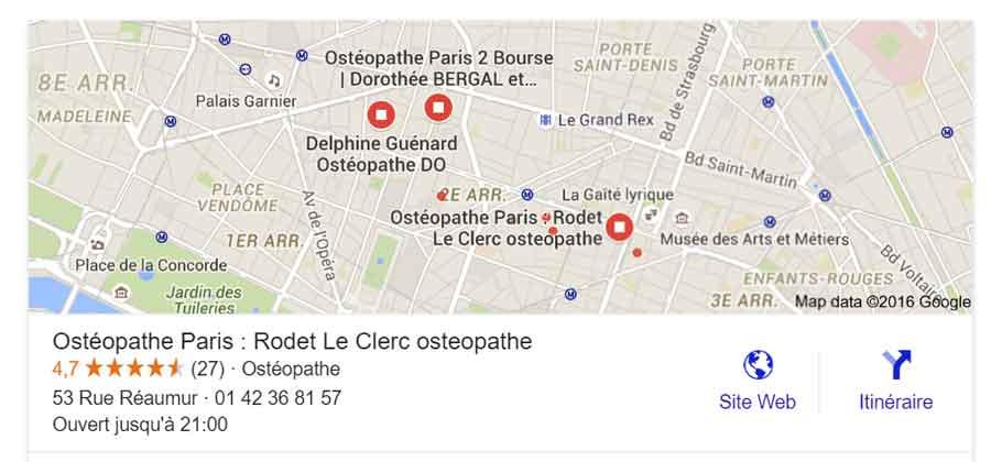 Cabinet osteopathie carte Google